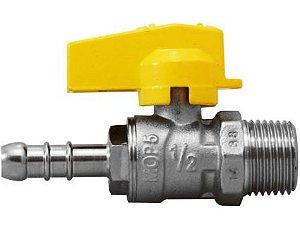Válvula Esfera Reta para Gás 1/2(M)x3/8(BM) Emmeti