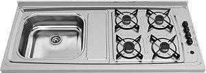 Fogão Pia Inox 1,20x54cm 4 Bocas GLP Ref.04043 GhelPlus