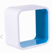 Nicho Quadrado Plástico 31cm Branco e Azul Astra