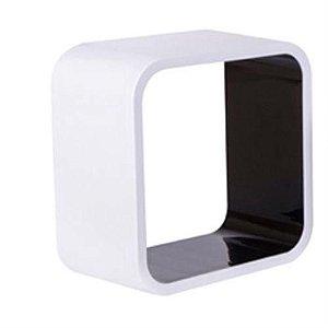 Nicho Quadrado Plástico 31cm Branco e Preto Astra