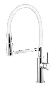 Misturador de Cozinha Monocomando Mesa 2884 C75 Cromado e Branco com Flexível Móvel Meber