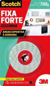 Fita Dupla Face Fixa Forte Cozinha 24mmx1,5m 3M