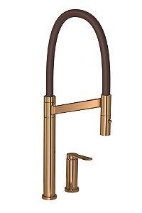 Misturador de Cozinha Mesa Monocomando Bica Alta Colore Red Gold e Marrom 2289.GL.RD.MR Deca