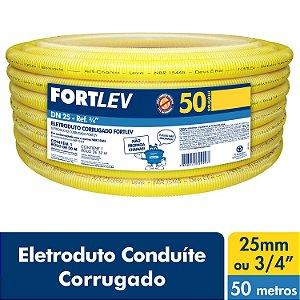 Eletroduto Corrugado Flexível Amarelo 25mm x 50m Fortlev