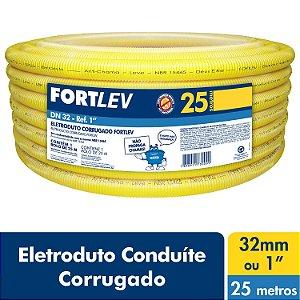 Eletroduto Corrugado Flexível Amarelo 32mm x 25m Fortlev