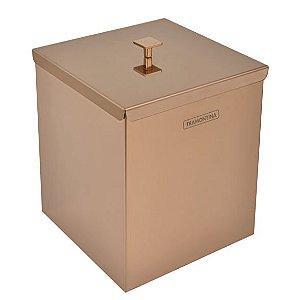 Lixeira Inox com Tampa Luz Rosé Gold Quadrada 4,5 Litros Ref. 94540/062 Tramontina