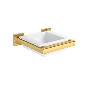 Saboneteira de Louça Quadratta 2011.GL83 Gold Deca
