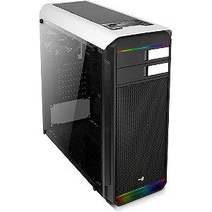 Gabinete Gamer Mid Tower Aerocool AERO 500 RGB Vidro Temperado Branco