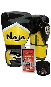 kit luva de boxe bandagem protetor bucal new extreme amarelo naja