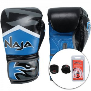 kit luva de boxe bandagem protetor bucal new extreme azul naja