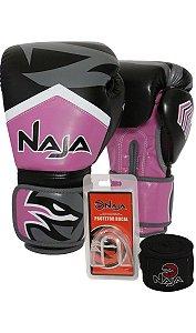kit luva de boxe bandagem protetor bucal new extreme rosa naja