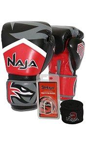 kit luva de boxe bandagem protetor bucal new extreme vermelho naja