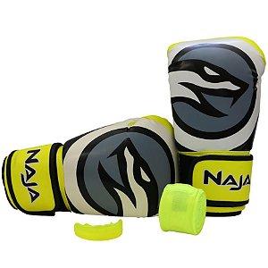 kit luva de boxe colors bandagem protetor bucal amarelo fluorescente naja
