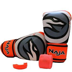 kit luva de boxe colors bandagem protetor bucal laranja fluorescente naja