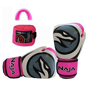 kit luva de boxe colors bandagem protetor bucal rosa fluorescente naja