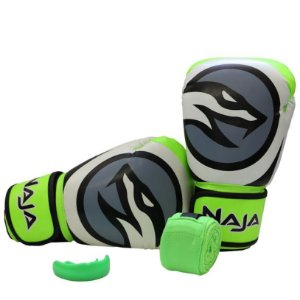 kit luva de boxe colors bandagem protetor bucal verde fluorescente naja