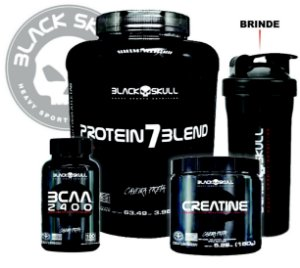 Combo Black Skull Proteina 7Blend Bcaa 2400 Creatina 150Gr Coqueteleira