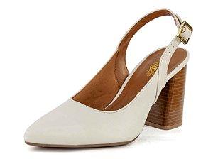 Scarpin Chanel Salto Grosso Napa Off White