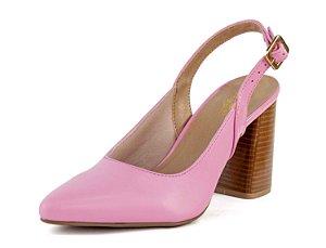 Scarpin Chanel Salto Grosso Napa Aurora Rosa