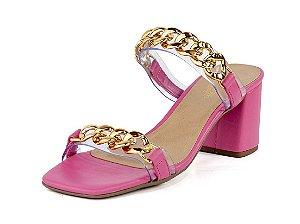 Mule Aberta Salto Bloco Vinil Corrente Napa Flamingo Pink