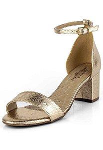 Sandalia Salto Forrado Metalizado Champagne
