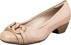 Sapato Salto Baixo Corrente Verniz Nude