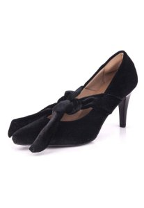 Sapato Scarpin De Amarrar Salto Fino Veludo Preto