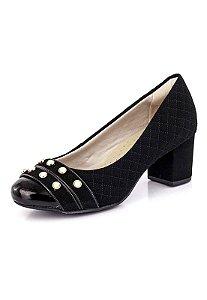 Sapato Salto Grosso Pérolas Nobuck Preto