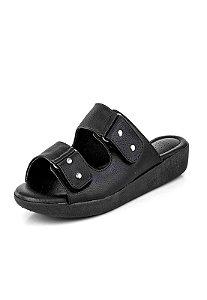 Tamanco Conforto Velcro New Pele Preto