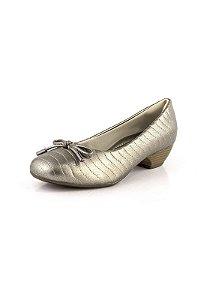 Sapato Salto Baixo Relax Prata Velho