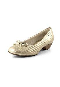 Sapato Salto Baixo Relax Ouro Light
