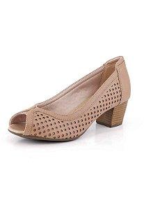 Sapato Peep Toe Laser Redondo New Pele Antique