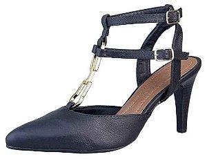Sapato Scarpin Fivela Bico Fino New Pele Preto