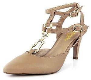 Sapato Scarpin Fivela Bico Fino New Pele Antique