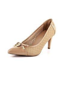 Sapato Scarpin Salto Fino Laço E Moedinha Antique