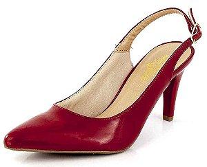 Sapato Channel Fivela Verniz Scarlet