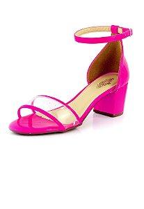 Sandalia Salto Forrado Frente Vinil Gamboa Pink