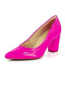 Sapato Scarpin Salto Verniz Neon Pink