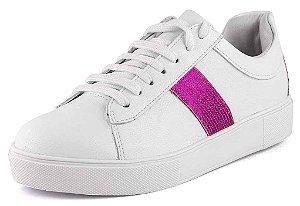 Tênis Casual Lantejoula Pink New Pele Branco