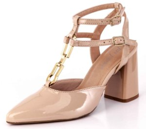 Sapato Aberto Salto Geométrico Tiras Gamboa Bistrô