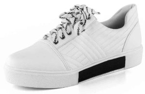 Tênis Slip On Cadarço Preto Branco New Pele Branco