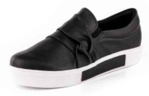 Tênis Casual Slipon Casual Nó New Pele Preto