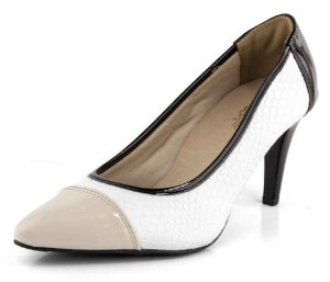 Sapato Scarpin Salto Fino Creme Croco Branco