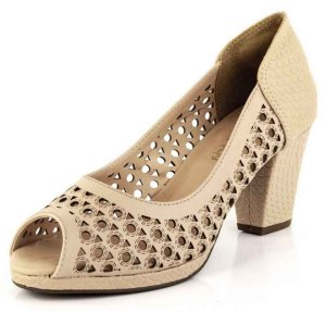 Peep Toe Laser Cut New Pele Croco Bistrô