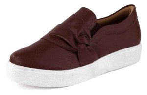 Tênis Casual Slipon Casual Nó New Pele Bordo