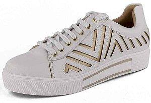 Tênis Casual Recortes Dourados New Pele Branco