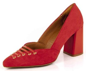Sapato Scarpin Salto Geométrico Cadarço Camurça Campari