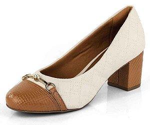 Sapato Bico Fino Cobra New Pele Porcelana