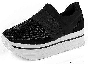 Tênis Flatform Slip On Com Paete E Nobuck Preto