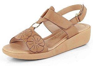 Sandália Conforto Fechamento Em Velcro New Pele Antique
